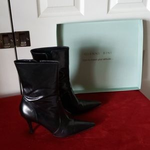Gianni Bini mid-calf leather pointed toe boots